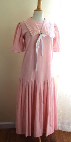 Vintage-Laura-Ashley-Sz-8-10-Pink-Floral-Sailor-Sea-20s-30s-Dress-Mint