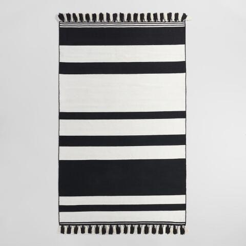 Black White Striped Tassel Rug Indoor Outdoor Rugs Trending