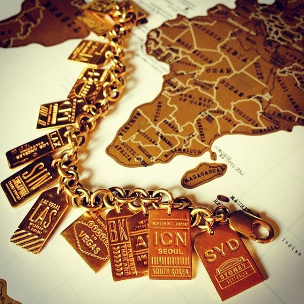 Bracelets The Deco Haus Tagged Gold: Jet Set Candy Gold Luggage Tag Charms Featuring Airport