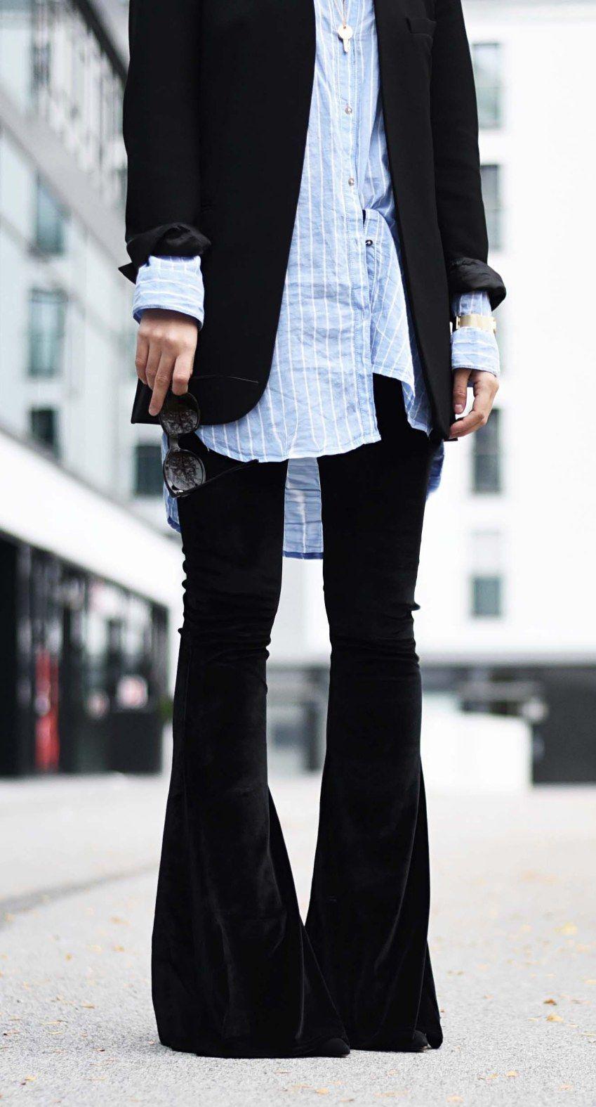 outfit schlaghose aus samt mit longblazer und boyfriend bluse meine outfits hosen outfit. Black Bedroom Furniture Sets. Home Design Ideas