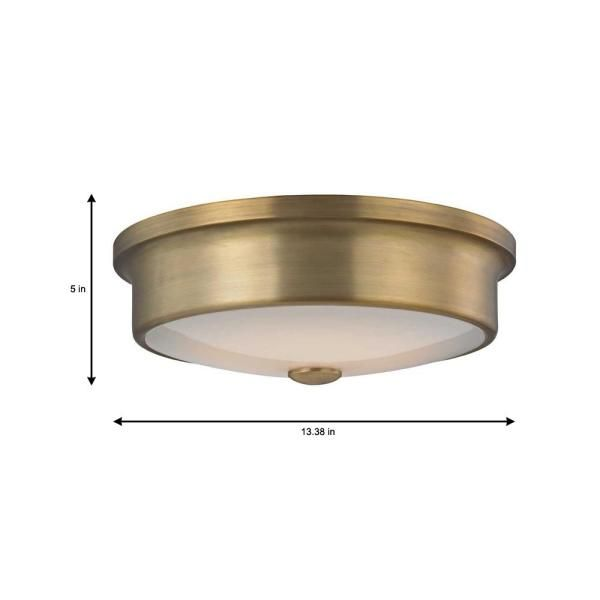 Home Decorators Collection Versailles 12 In Aged Brass Led Flush Mount Ceiling Light With White Glass In 2020 Led Flush Mount Flush Mount Ceiling Lights Glass Shades