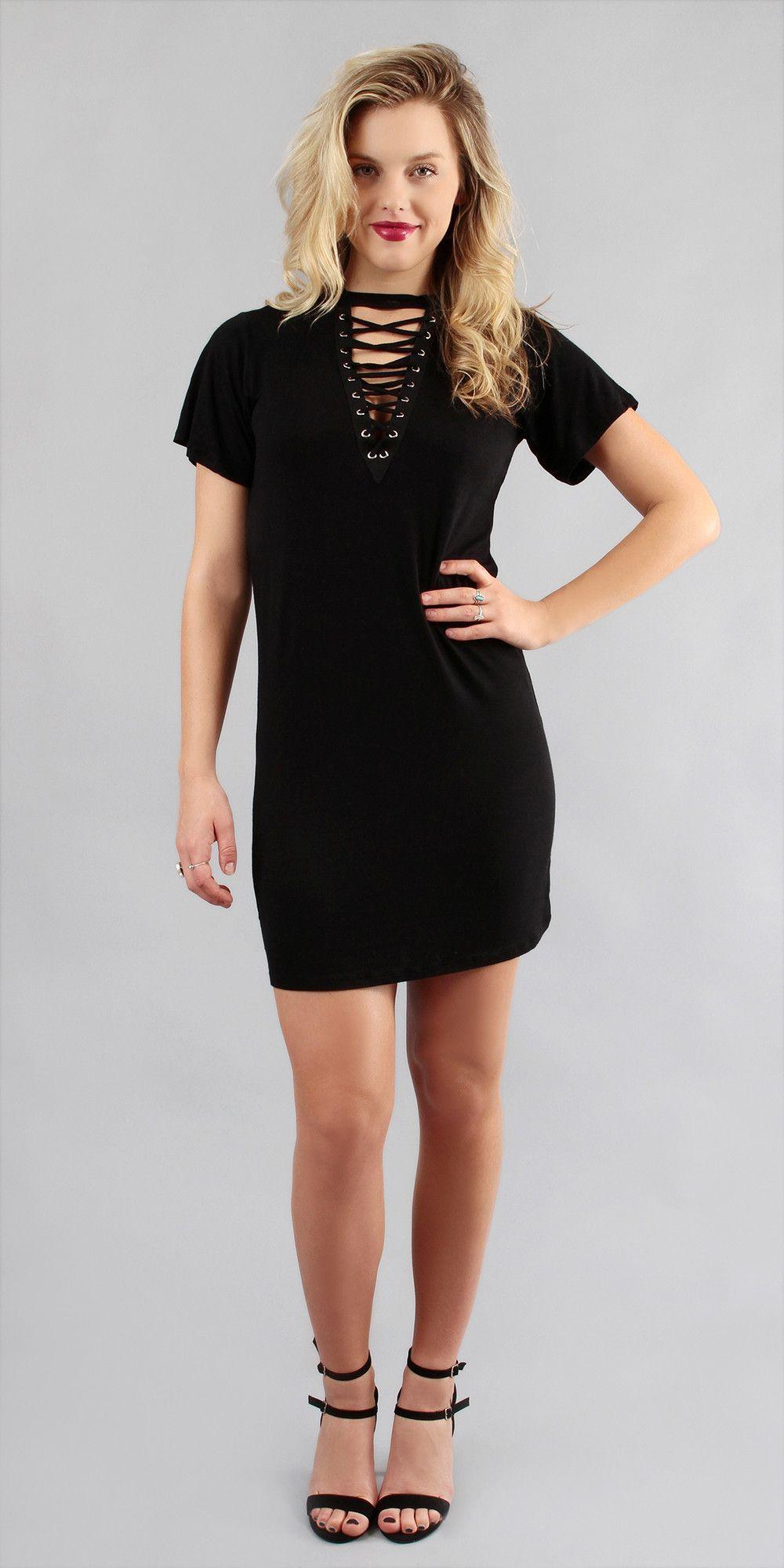 Lace front choker neck mini dress products