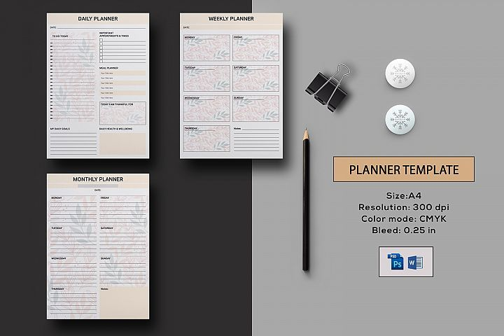 Planner Template | JPG, Photoshop & Ms Word Template