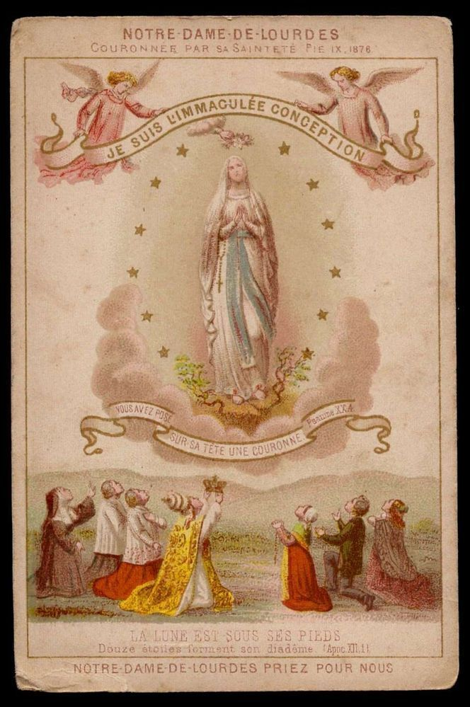 Our Lady Of Lourdes Holy Card The Banner Reads I Am The