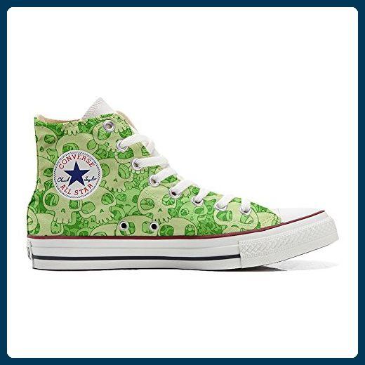 Converse All Star personalisierte Schuhe (Handwerk Produkt) Green Skull  46 EU