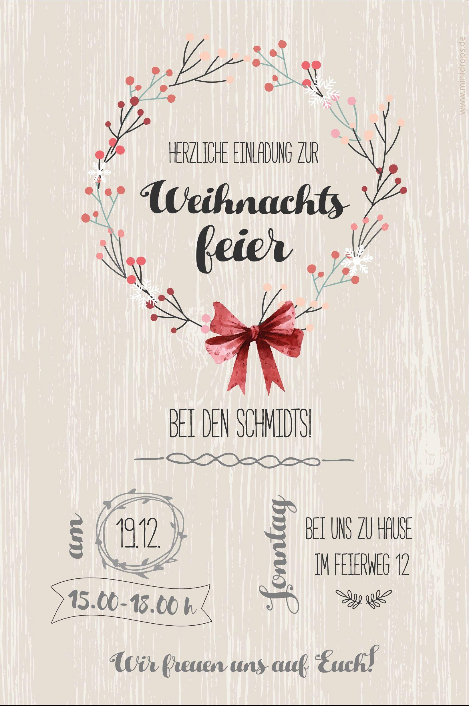 Einladung zur weihnachtsfeier personalisiert und inidviduell zum selber ausdrucken im minidrops partyshop