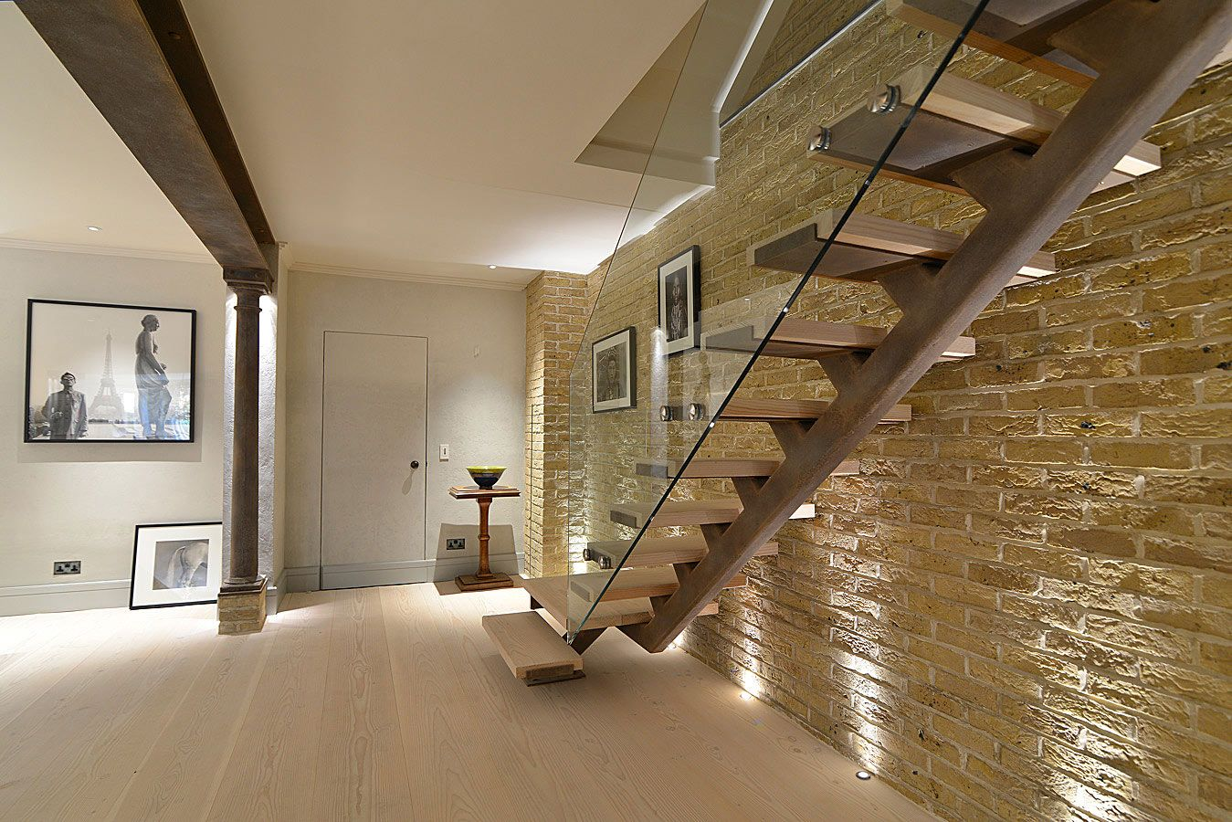 staircase staircase from ground to basement with european oak treads