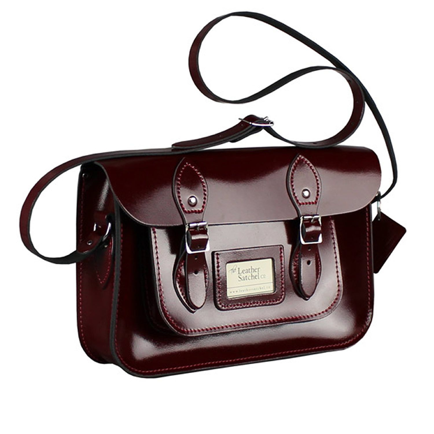 12.5-inch Classic Satchel made from Patent Oxblood Red Leather ...