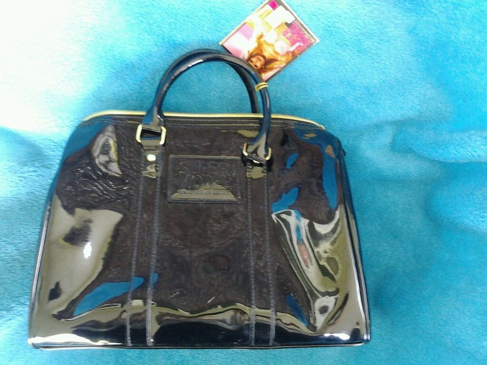 VICTORIA'S SECRET SUPER MODEL Black Patent Bag Purse Satchel Handbag  #VictoriasSecret #Satchel