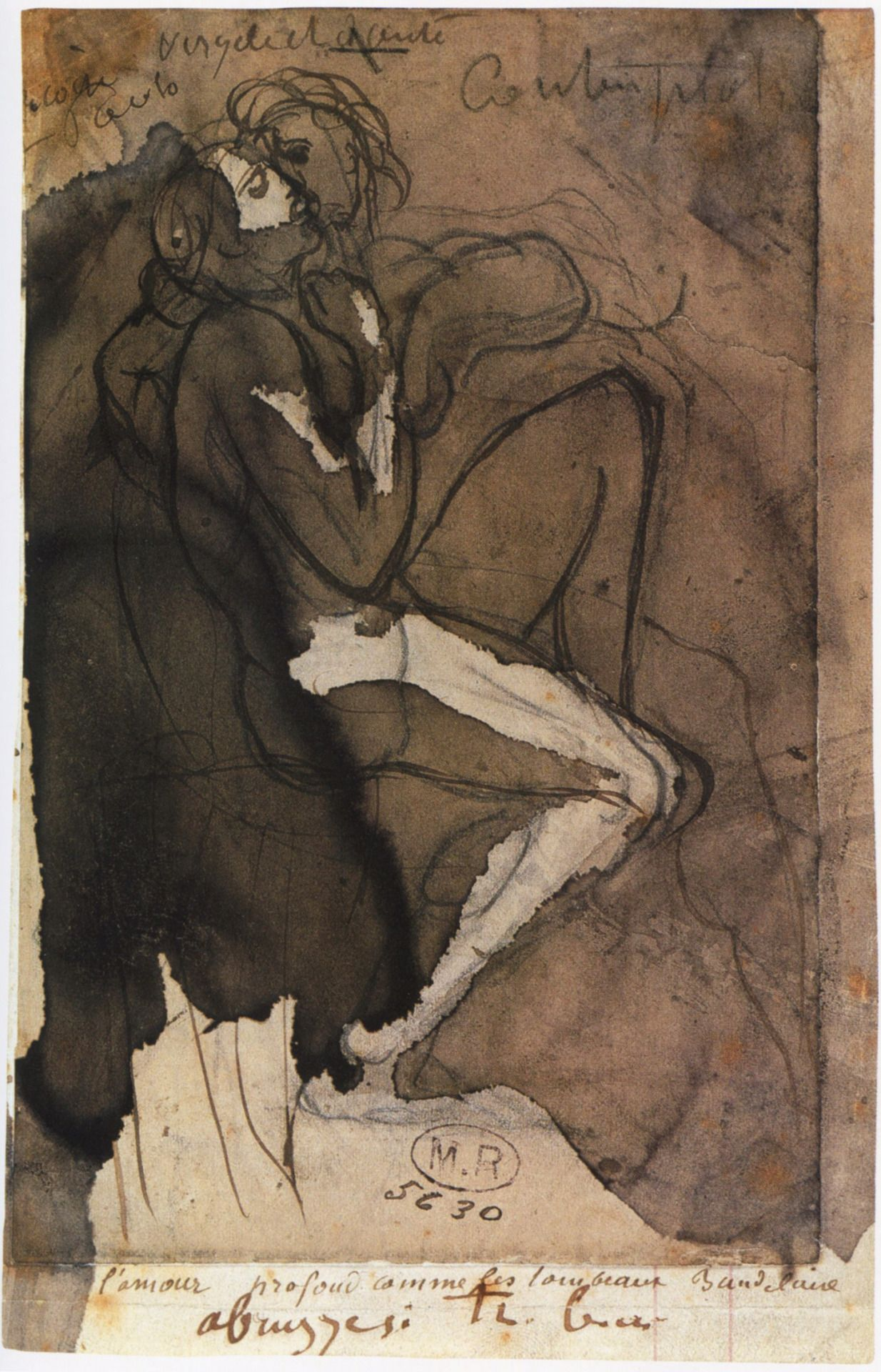 The circle of love  1885 Auguste Rodin.Annotated, top: Françoise Paolo / Virgile and Dante / Contemplations;below:, on support: l'amour profond comme les tombeaux Baudelaire / abruzzesi très beau