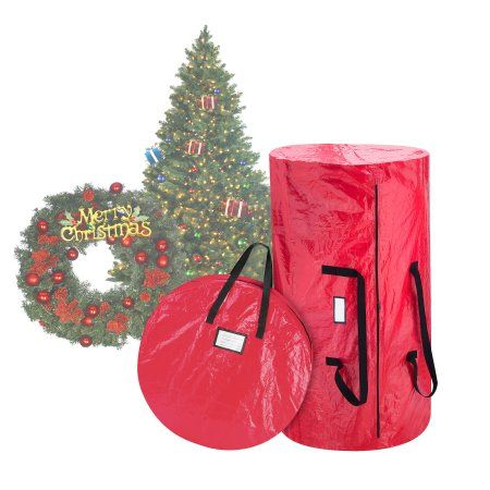 Christmas Tree And Wreath Combo Storage Bag Holds Up To 9 Ft Tree And 30 Diameter Wreath Tear Proof Holiday Da C Cor Organization By Elf Stor Red Walmart C Christmas Tree Storage Bag Wreath