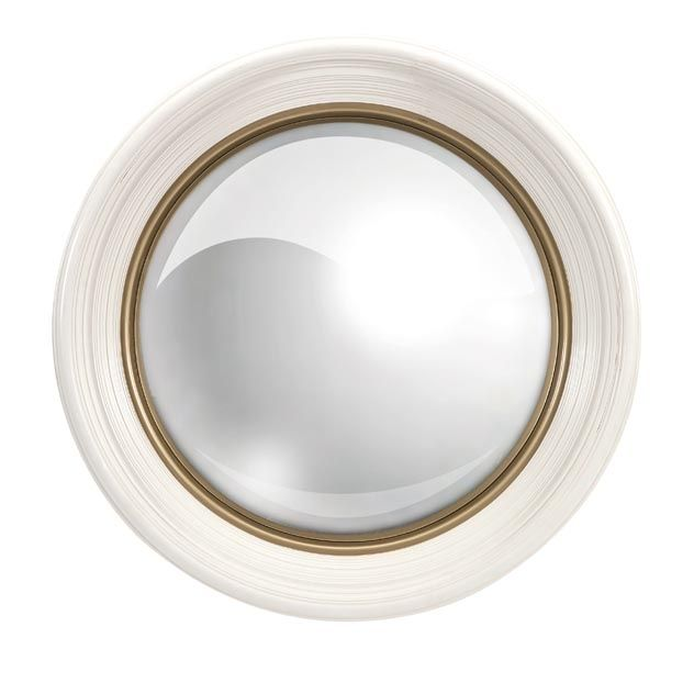 Manning White Round Mirror The Oversized White Manning Mirror Features Gold Frame Detailing And A Convex M Antique Mirror Wall White Wall Mirrors Mirror Wall
