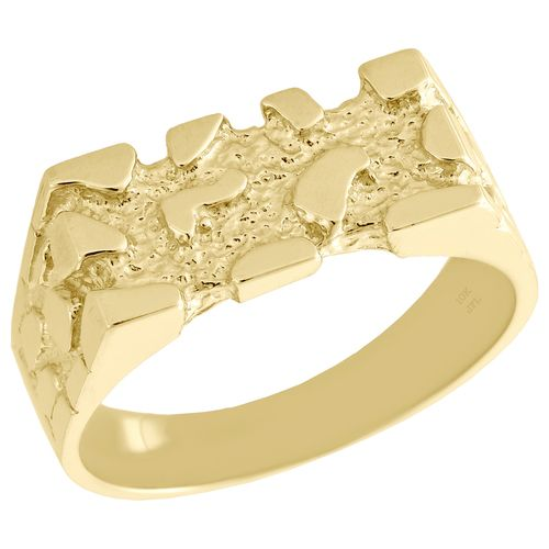 Real 10k Yellow Gold Mens Nugget Style Pinky Ring Rectangle Fancy Band 8 25mm Pinky Ring Fashion Rings Simulated Diamond Rings