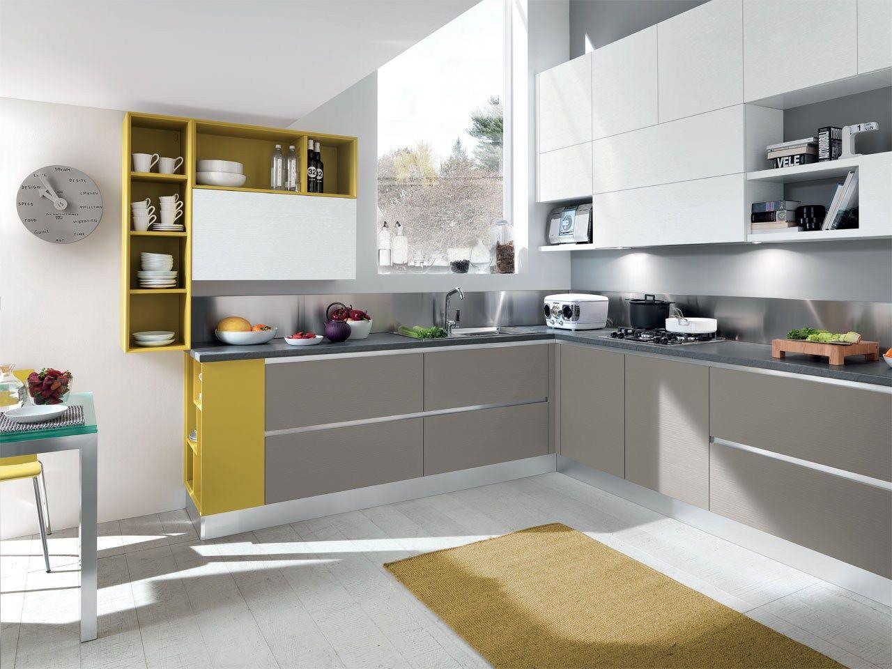 Cucina componibile in legno senza maniglie | Accessori cucina ...