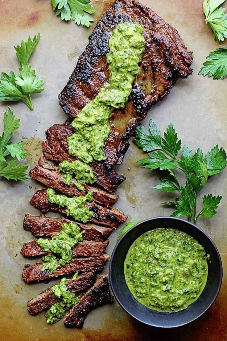 Skirt Steak Marinade Recipe with Chimichurri Recipe - No summer grill is complete without my skirt or flank steak marinade!  Easy and beyond flavorful! #marinadeforskirtsteak