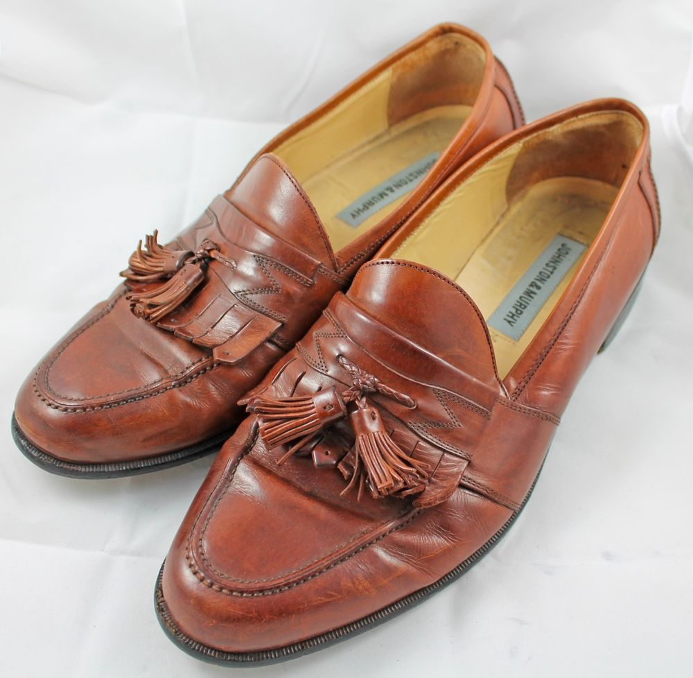 Johnston Murphy Loafers Tassel Brown Leather Dress Shoes Size 12 M Italy Slip On