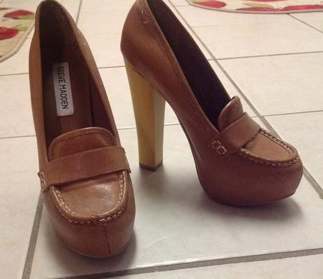 e9d67253db Steve Madden Penny Loafer Pump: Leather, medium brown/tan, chunky heel