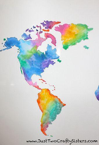 Diy Watercolor World Map Artwork Map Artwork Water Color World