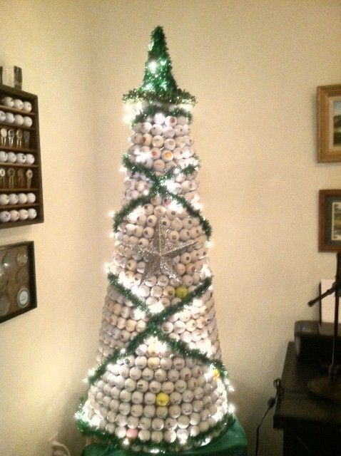 Cute Golf Ball Christmas Tree More Golf Christmas Ideas At Lorisgolfshoppe Golf Ball Crafts Golf Birthday Gifts Golf Crafts