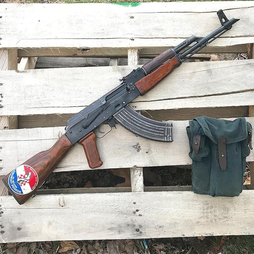 Romanian AKM with Croatian Defense Council HVO 110 Stock Set