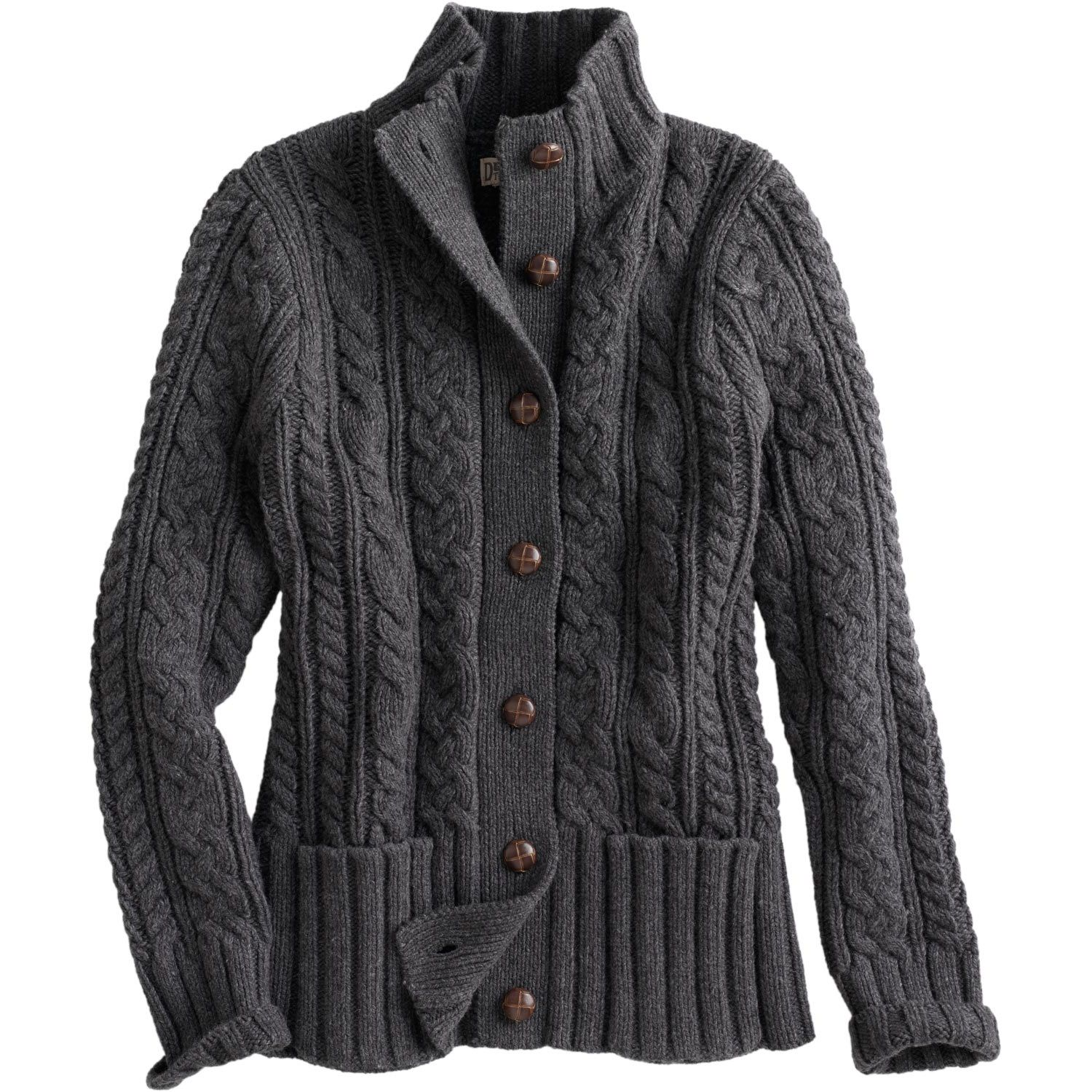 The women's Fisherman Cardigan Sweater looks like a classic. But - wowza! - with a smidge of cashmere mixed in wait'll you feel it.