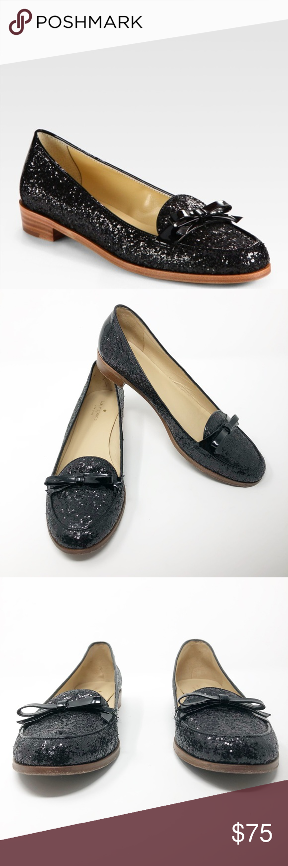 7796c4a5bfcf  Kate Spade  Black Glitter Loafer Cora Bow Flats Kate Spade New York Sz 9.5