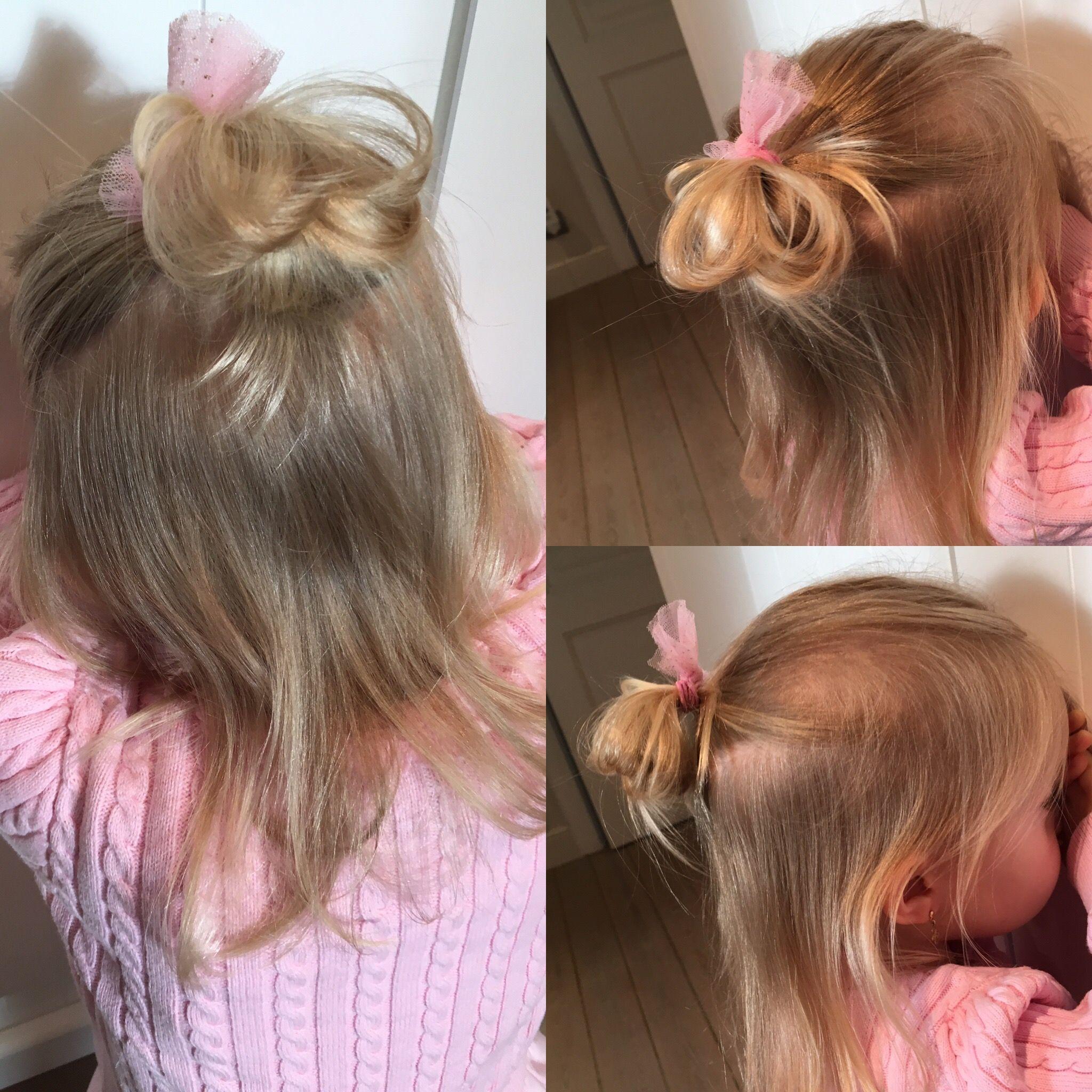 Halfup Bun Little Girl Hairstyle Fine Hair Pinklover Hair Styles