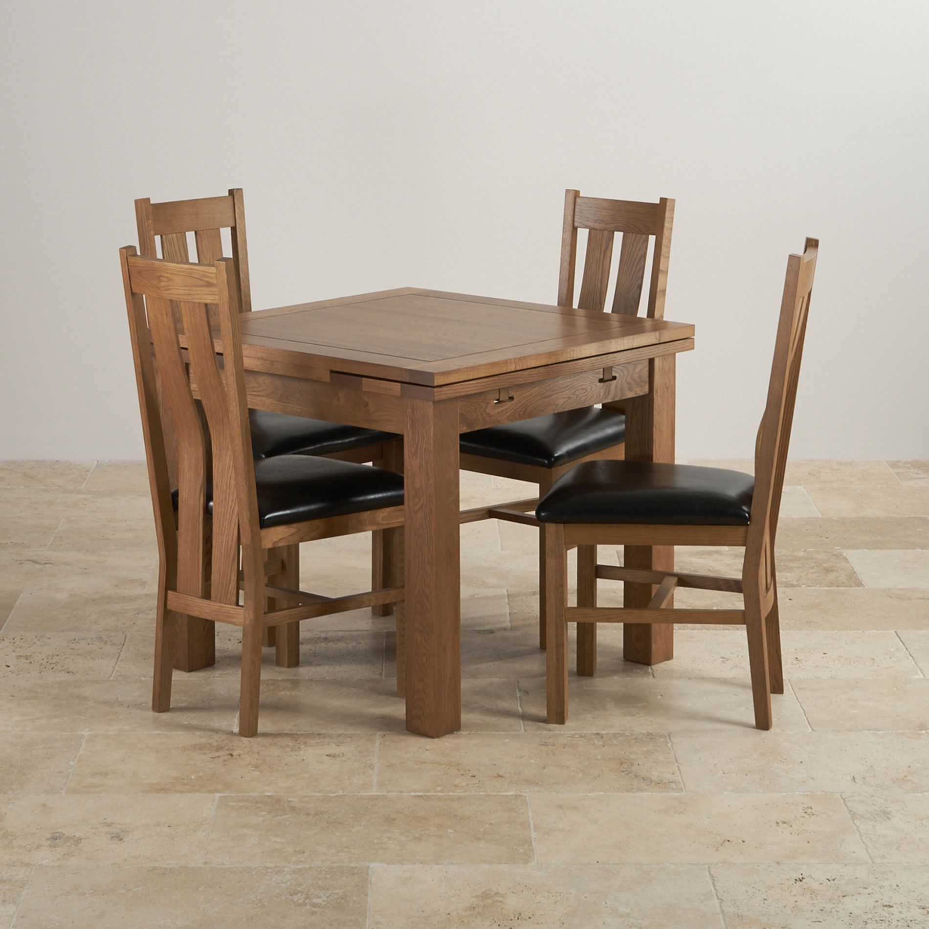 3ft x 3ft rustic solid oak extending dining table seats up to 6 people extended - Solid Oak Extending Dining Table And 6 Chairs