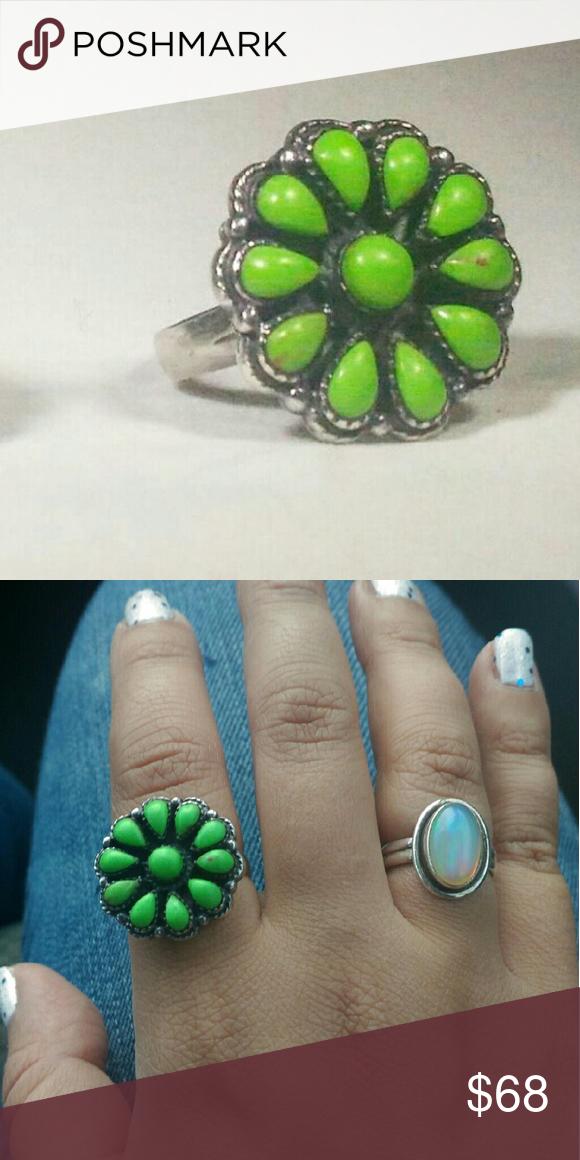 Sterling silver southwestern gaspeite ring Sterling silver southwestern gaspeite ring. Size 7.5. Jewelry Rings