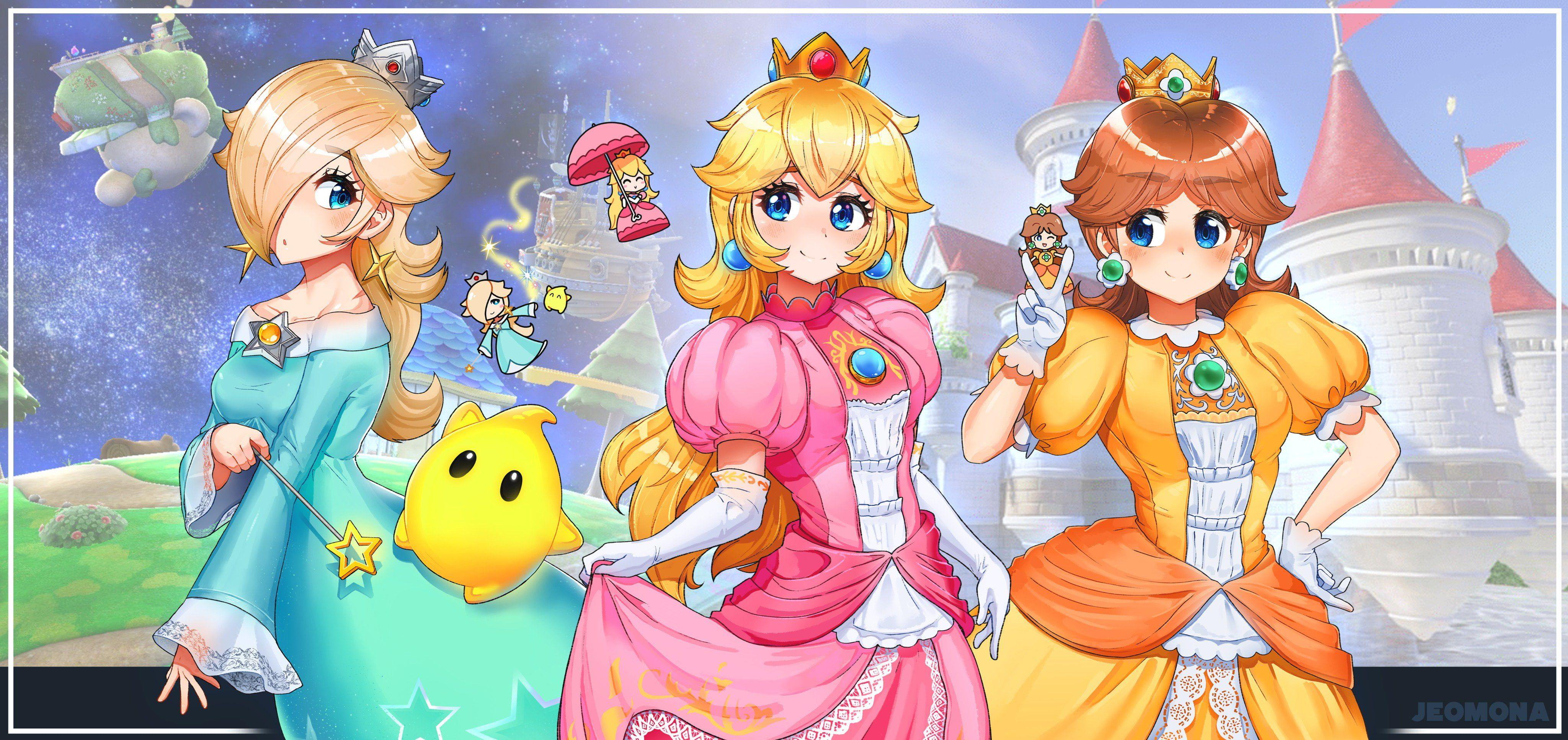 Mario Bros Princess Rosalina Princess Daisy Princess Peach 4k Wallpaper Hdwallpaper Desktop Peach Wallpaper Princess Peach Princess Daisy