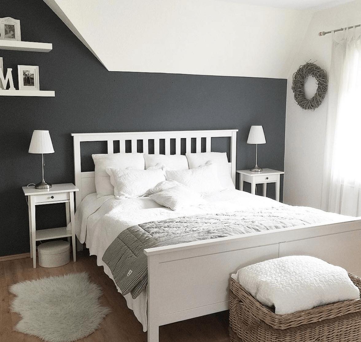 Kuhles Wandgestaltung Schlafzimmer Deko Grau Weiss Schlafzimmer