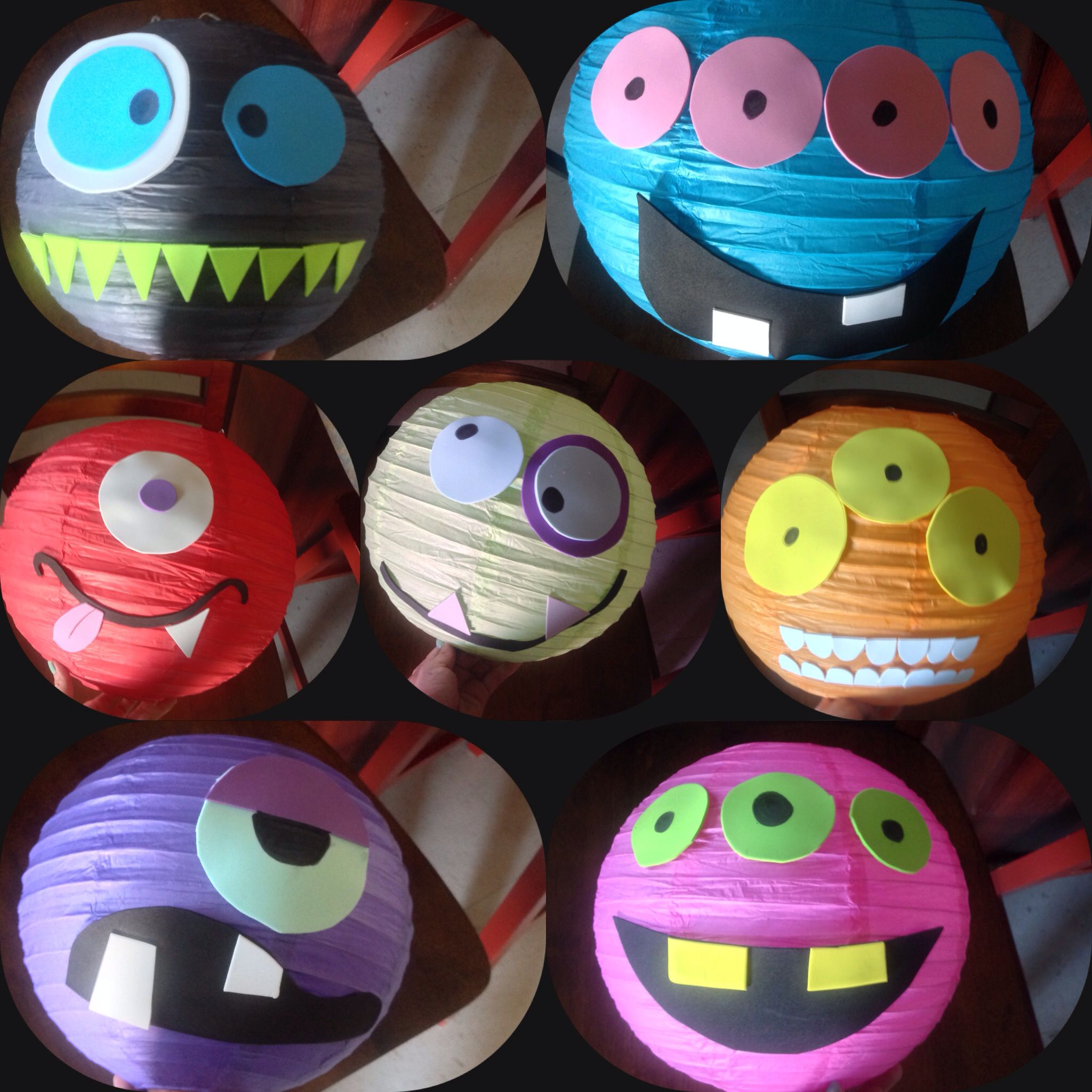 Paper lanterns and sticky foam diy monster party decorations ...