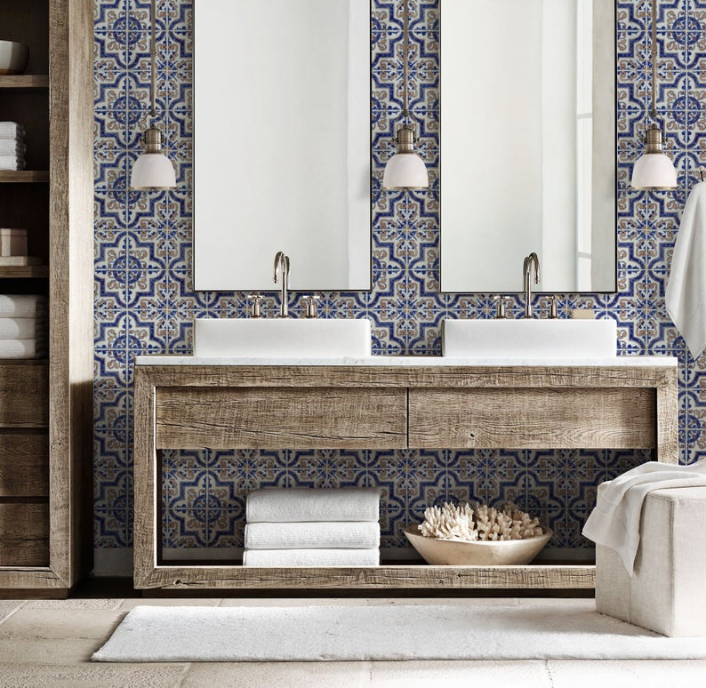 Blue Moroccan Tile Repositionable Removable Wallpaper Peel Stick Fabric Wallpaper Spanish Portuguese Azulejo Tile Spanish Style Bathrooms Blue Moroccan Tile Bathroom Styling