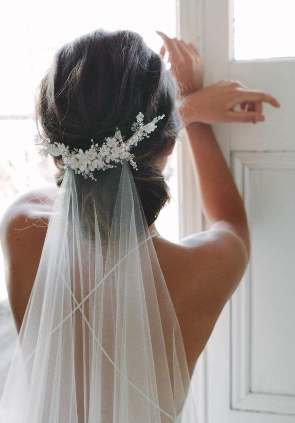 statement bridal hair accessories low veil headpiece by tania maras