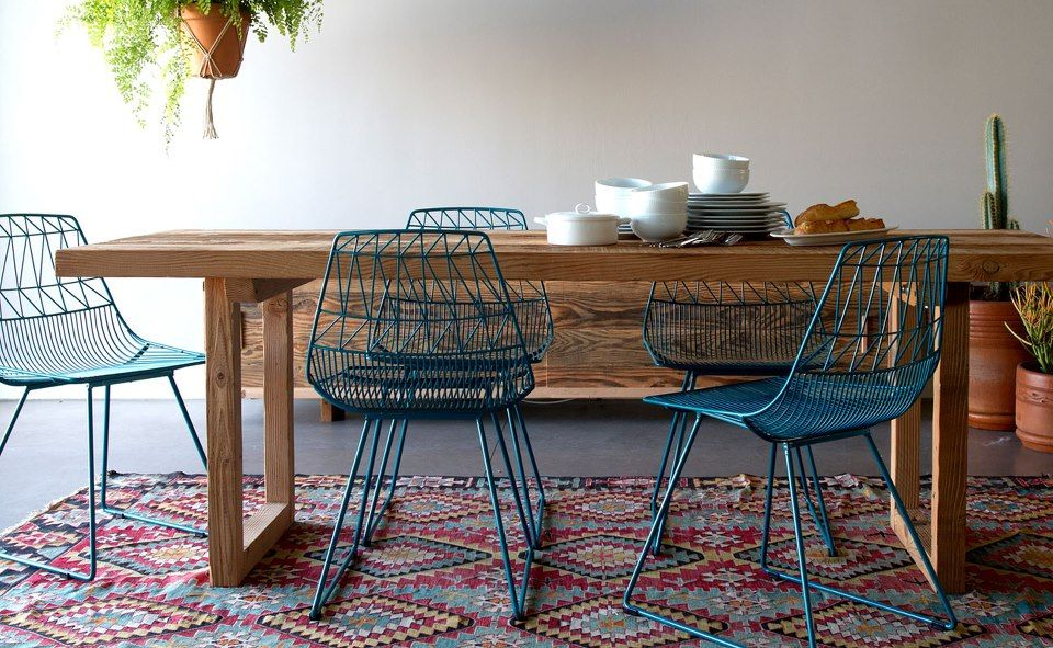 Teal wire mesh chairs farmhouse table modern chairs for Teal dining room table