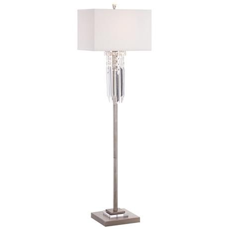 dazzling crystals add grace to this brushed gold floor lamp from possini euro design