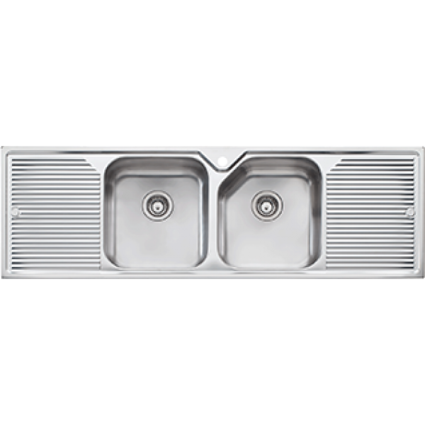 Oliveri Nu-Petite Double Bowl Double Drainer Kitchen Sink NP653 ...
