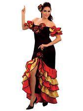 Rumba Spanish Senorita Salsa Fancy Dress Dancer Womens Costume Flamenco  Adults 9d5563617dd3b