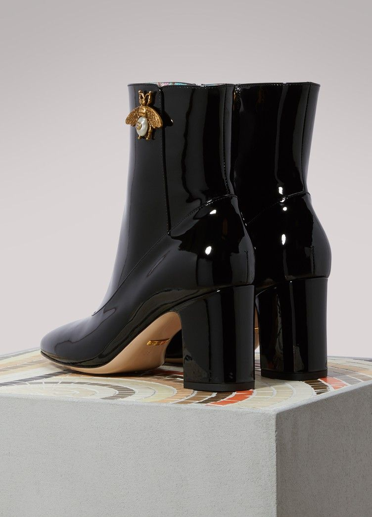 70f12c2ec Gucci Bee Detail Patent Leather Ankle Boots | Gucci | Gucci boots ...