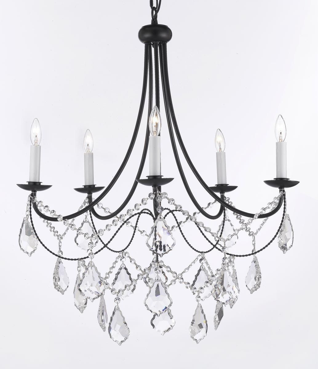Empress Crystal Tm Wrought Iron Chandelier Chandeliers Lighting H 22 5 X W