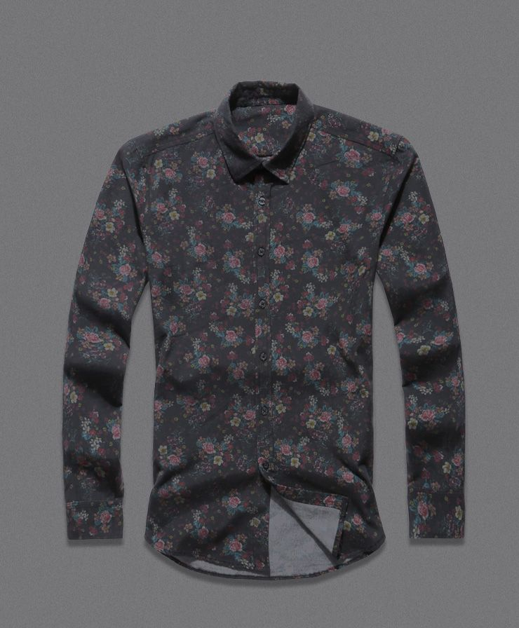 03f0946acc40 Men shirt Floral printing long sleeve shirts men clothes flowers printed  shirts vintage Linen Casual Men Shirt 2016 new Spring