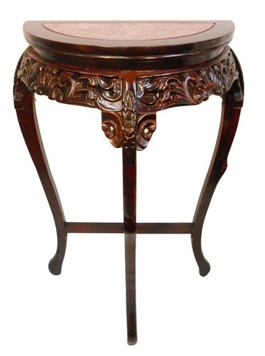 Marble Top Half Moon Floral Carved Wooden Hall Table Marble