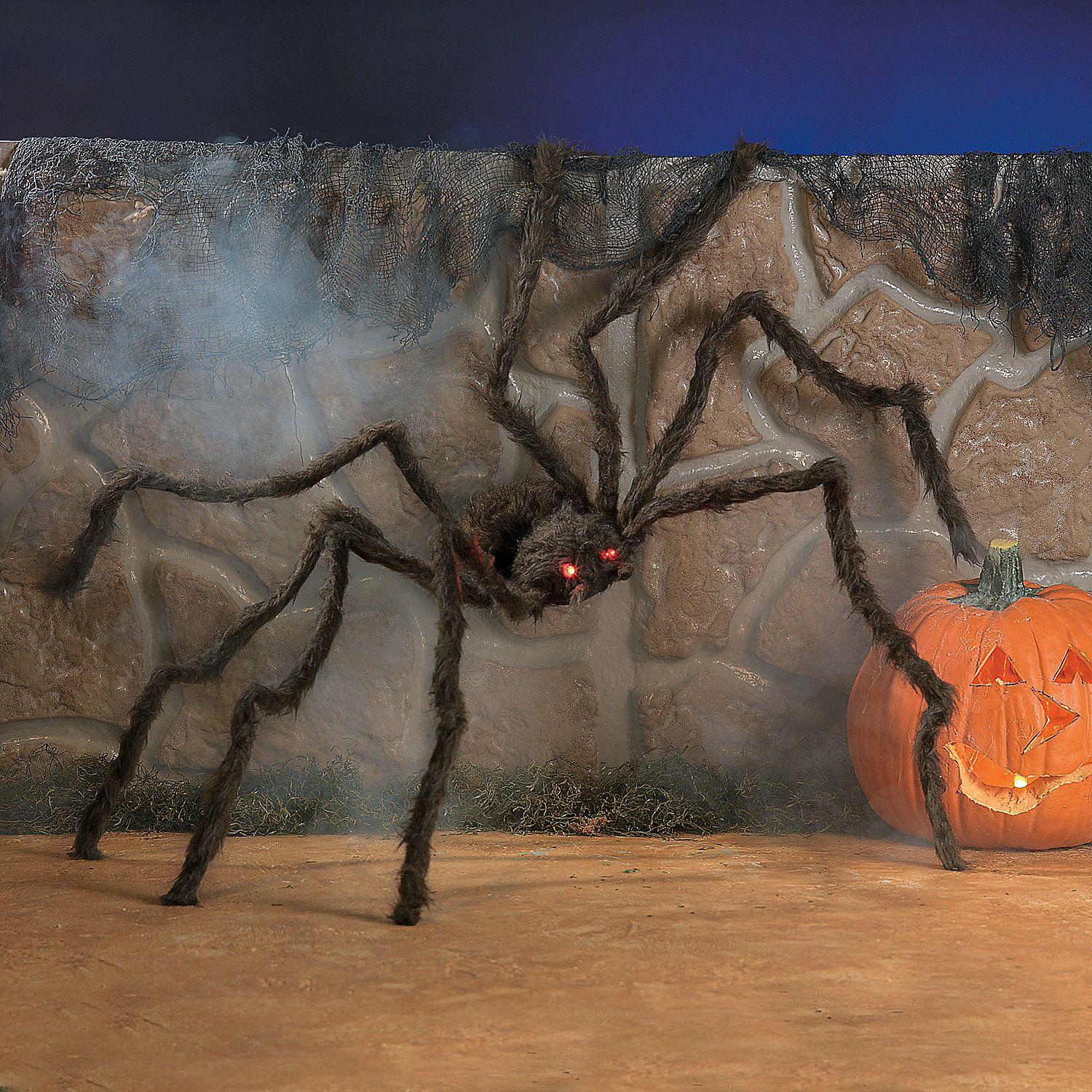Hairy Spider with Light Up Eyes Halloween Decoration