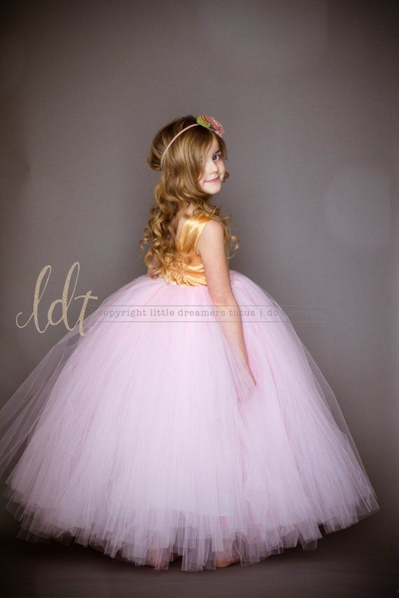 4c3c38ff The Juliet Dress - Gold Sequin Bodice and Light Pink Tulle - Flower Girl  Dress