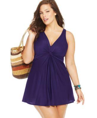 28d8888766 Miraclesuit Plus Size Marais Twist-Front One-Piece Swimdress | macys.com