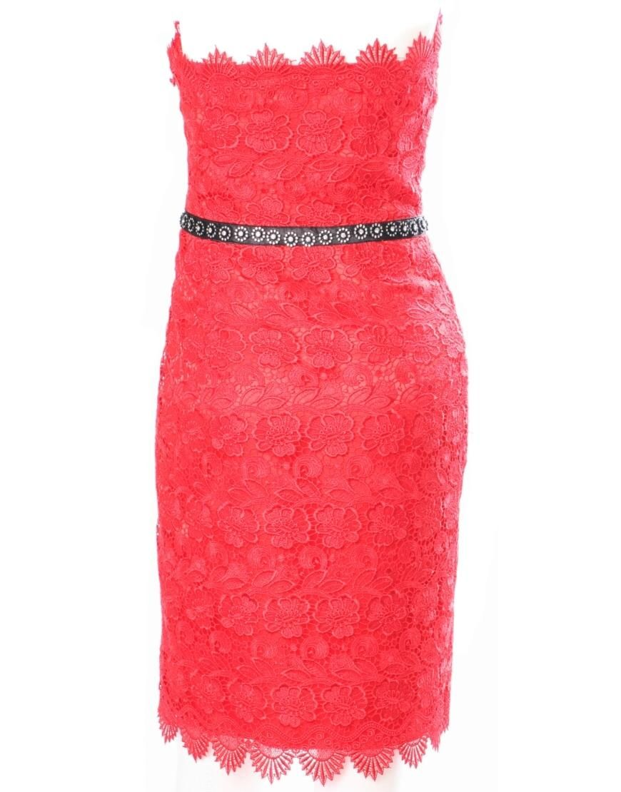 Embellished lace dress in red