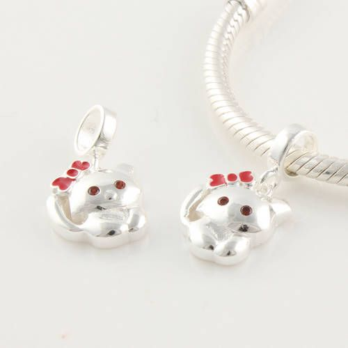 Clyb134 925 sterling silver red enamel cute cat dangle charms on clyb134 925 sterling silver red enamel cute cat dangle charms on salefor cheap aloadofball Choice Image