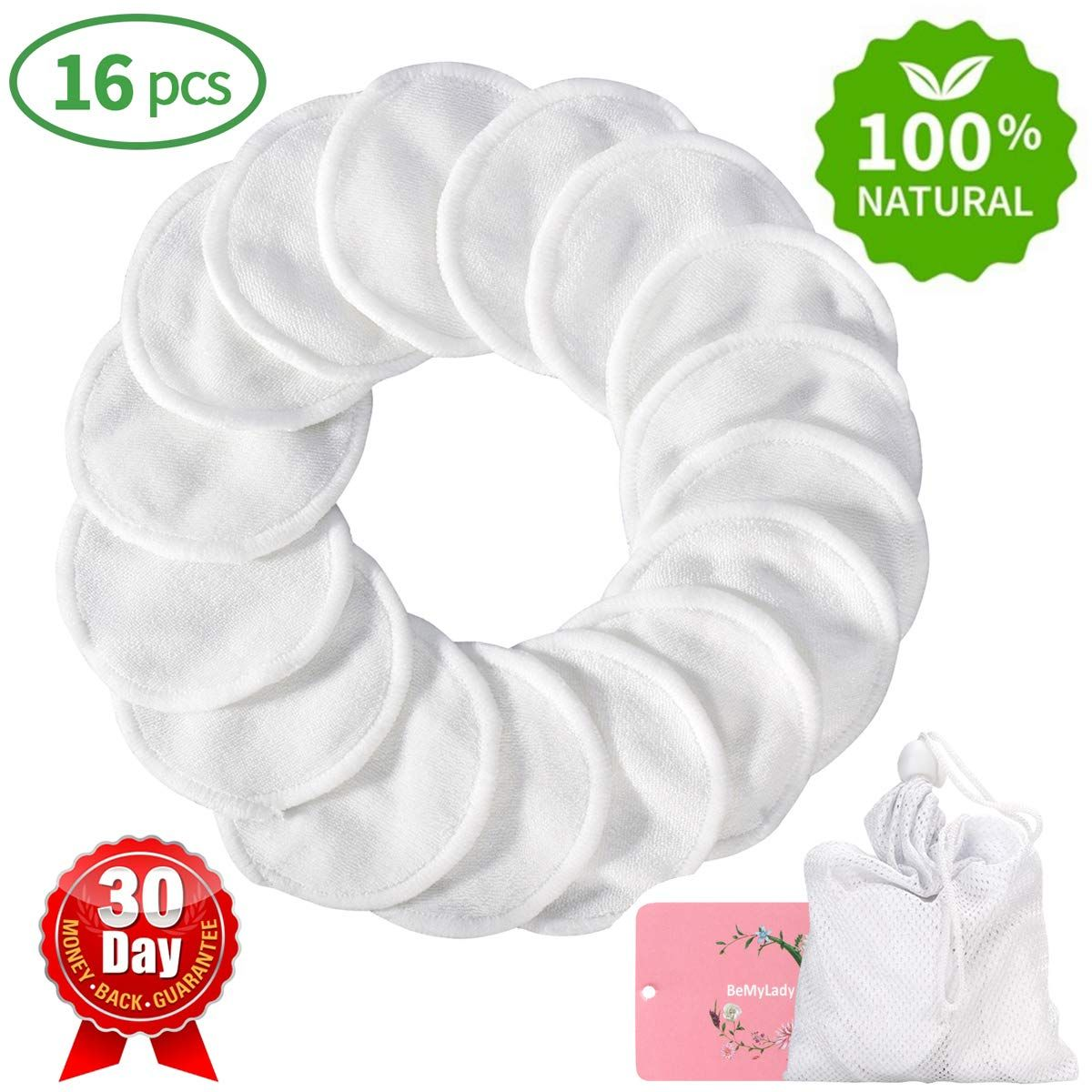 Reusable Makeup Remover Pads 16 Packs, TOPOINT