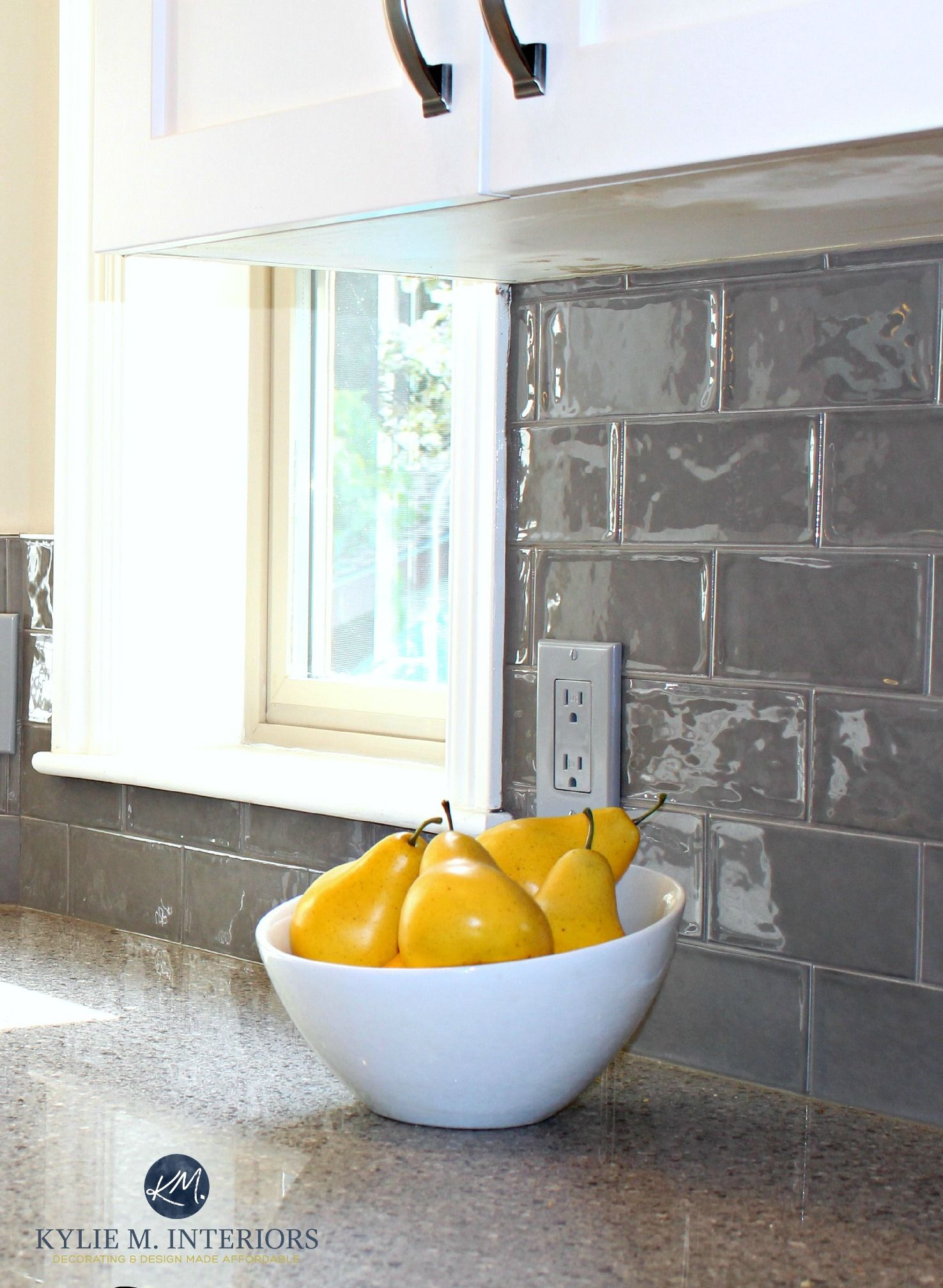 Glazed Shiny Gray Subway Tile In Kitchen Remodel With Quartz Countertops And White Painted Cabinets By Kylie M Interiors