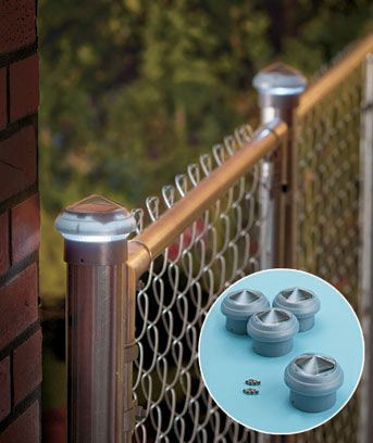 Set Of 4 Chain Link Solar Post Caps Solar Post Caps Backyard Fences Chain Link Fence